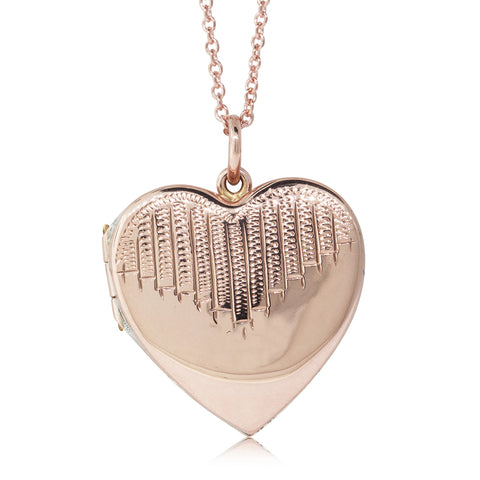 Vintage 9ct Rose Gold Art Deco Heart Locket - Walker & Hall