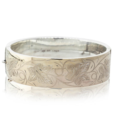 Deja Vu 9ct Yellow Gold Plated Engraved Bangle - Walker & Hall