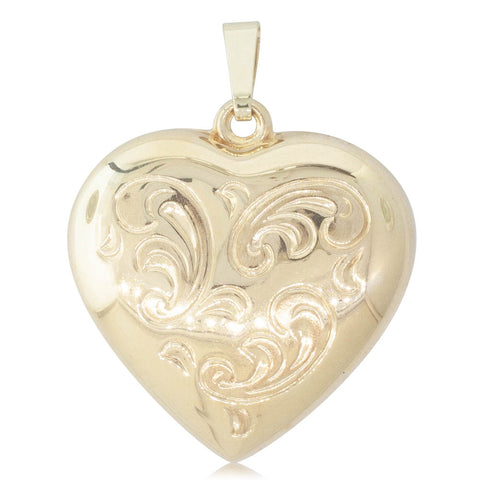 Deja Vu 9ct Yellow Gold Engraved Heart Pendant - Walker & Hall