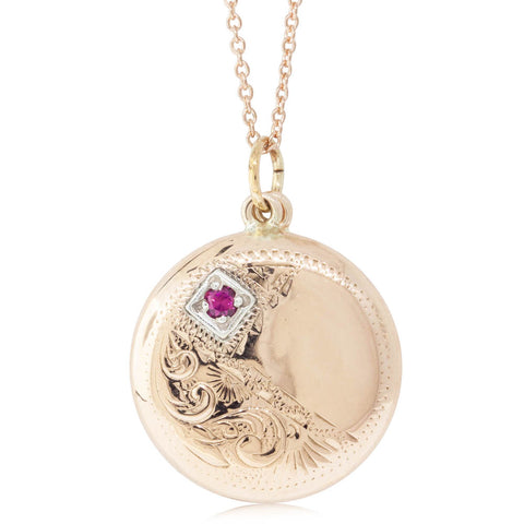 Deja Vu 9ct Rose Gold Red Stone Locket - Walker & Hall