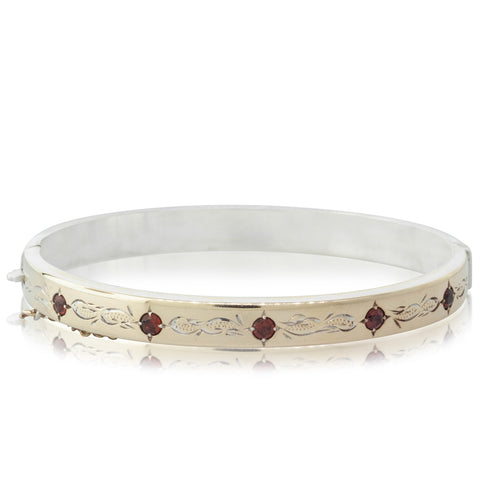 Deja Vu Gold Plated Garnet Bangle - Walker & Hall
