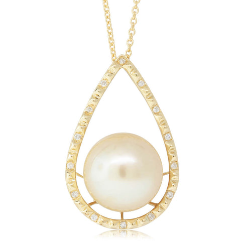 18ct Yellow Gold 12.8mm Pearl & Diamond Pendant - Walker & Hall