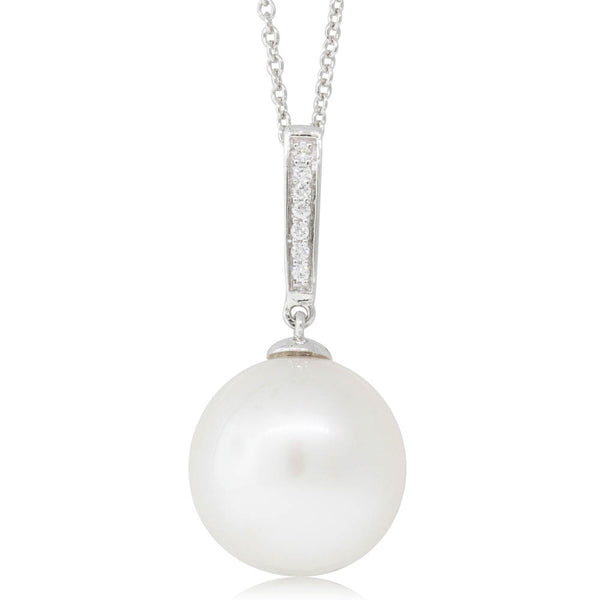 18ct White Gold 13.1mm Pearl & Diamond Pendant - Walker & Hall