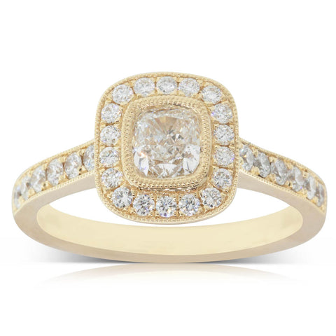 18ct Yellow Gold .56ct Diamond Halo Ring - Walker & Hall