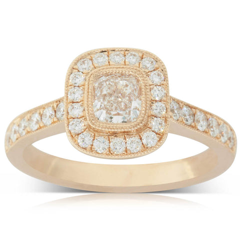 18ct Rose Gold .55ct Diamond Halo Ring - Walker & Hall