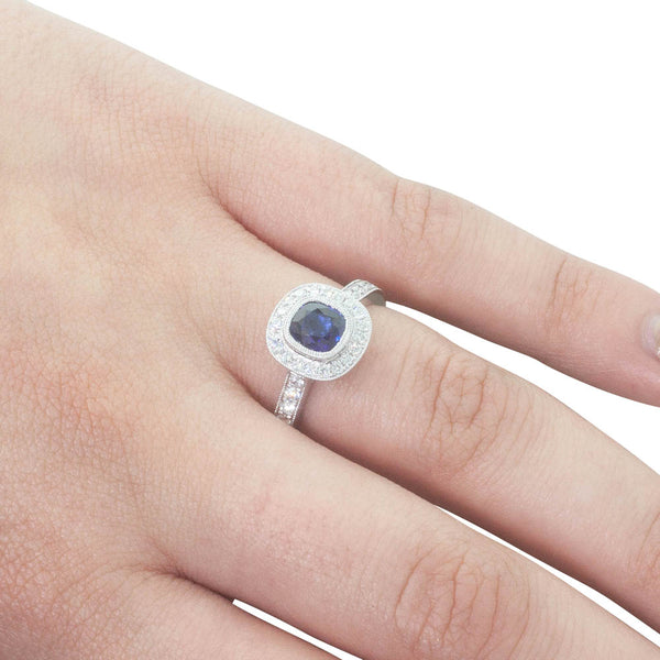 18ct White Gold .98ct Sapphire & Diamond Halo Ring - Walker & Hall