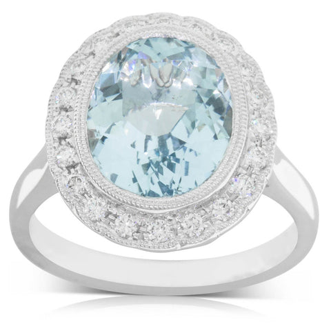 18ct White Gold 4.02ct Aquamarine & Diamond Halo Ring - Walker & Hall