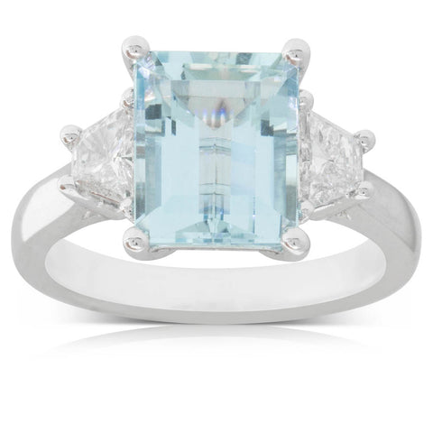 18ct White Gold 3.22ct Aquamarine & Diamond Ring - Walker & Hall