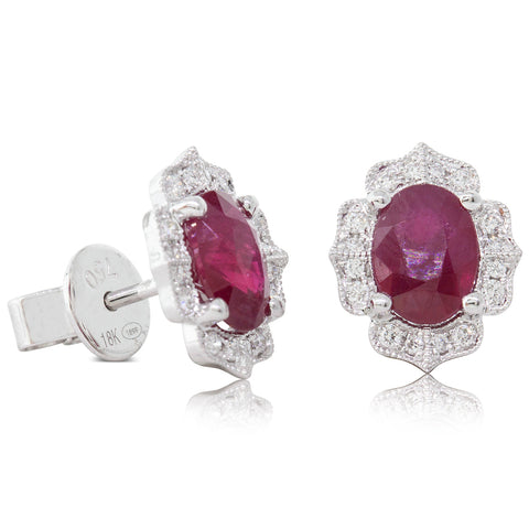 18ct White Gold 2.36ct Ruby & Diamond Halo Earrings - Walker & Hall