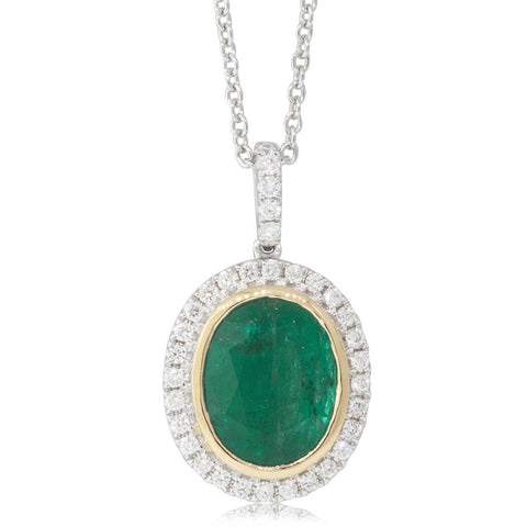 18ct White Gold 2.65ct Emerald & Diamond Halo Pendant - Walker & Hall