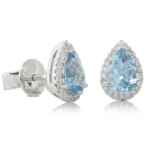 18ct White Gold 1.35ct Aquamarine & Diamond Halo Stud Earrings - Walker & Hall