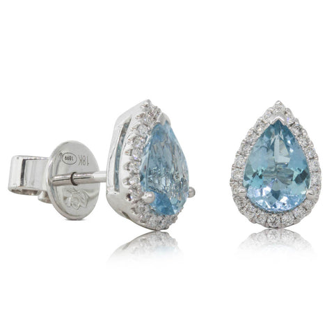 18ct White Gold 1.04ct Aquamarine & Diamond Halo Stud Earrings - Walker & Hall