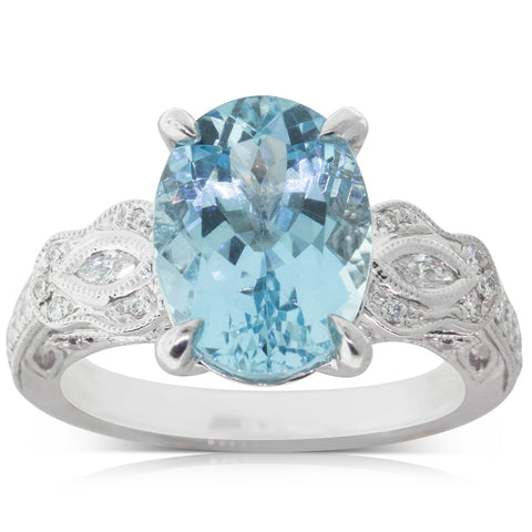 18ct White Gold 3.94ct Aquamarine & Diamond Ring - Walker & Hall