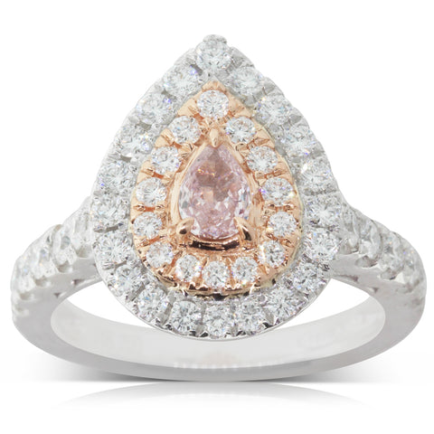 18ct White & Rose Gold 1.30ct Diamond Cluster Ring - Walker & Hall