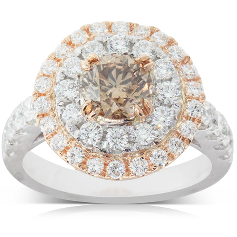 18ct White & Rose Gold 1.15ct Diamond Halo Ring - Walker & Hall