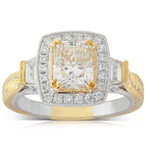 18ct White & Yellow Gold 2.09ct Diamond Halo Ring - Walker & Hall