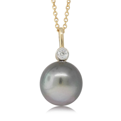 18ct White Gold 12.1mm Pearl & Diamond Pendant - Walker & Hall