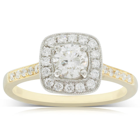 18ct Yellow & White Gold .50ct Diamond Aurora Ring - Walker & Hall