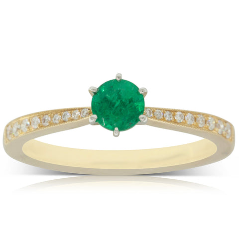 18ct Yellow Gold .37ct Emerald & Diamond Zenith Ring - Walker & Hall