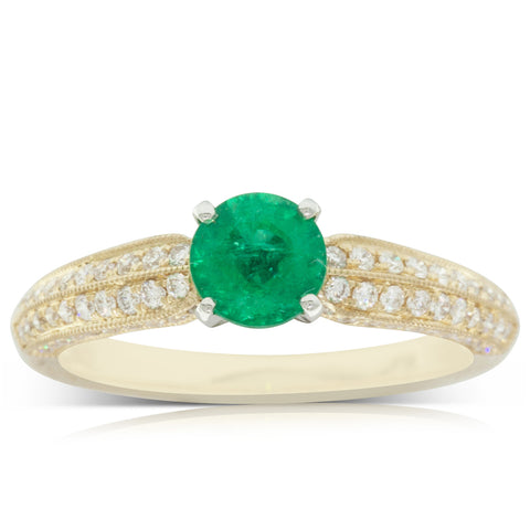 18ct Yellow Gold .67ct Emerald & Diamond Ring - Walker & Hall