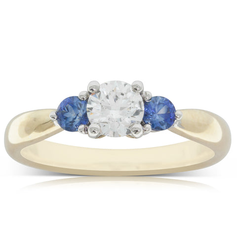18ct Yellow Gold .50ct Diamond & Sapphire Ring - Walker & Hall