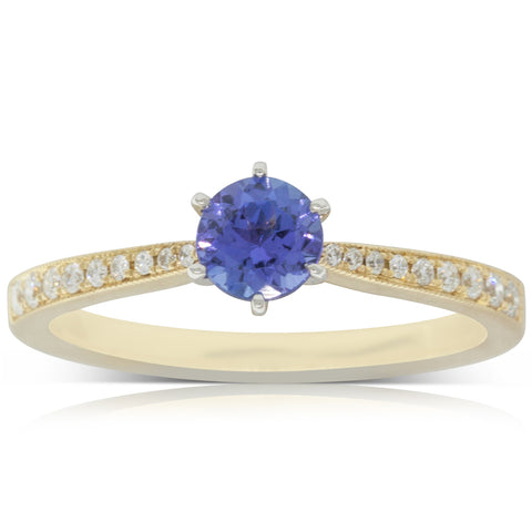 18ct Yellow Gold .47ct Tanzanite & Diamond Zenith Ring - Walker & Hall