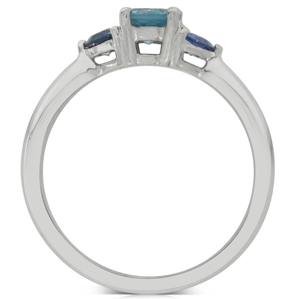 18ct White Gold .50ct Aquamarine & Sapphire Ring - Walker & Hall