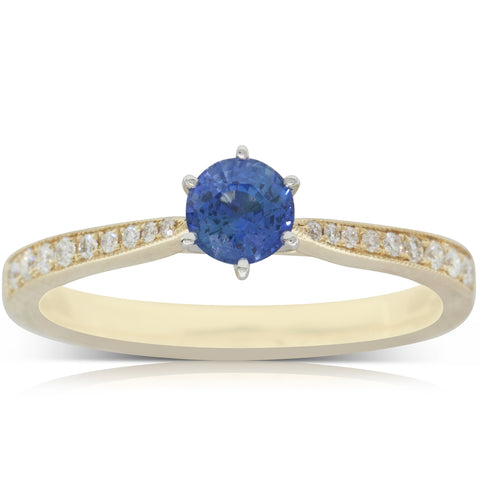 18ct Yellow Gold .52ct Sapphire & Diamond Zenith Ring - Walker & Hall
