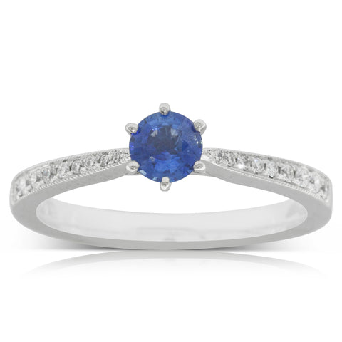 18ct White Gold .44ct Sapphire & Diamond Zenith Ring - Walker & Hall
