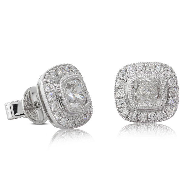 18ct White Gold 1.36ct Diamond Halo Earrings - Walker & Hall