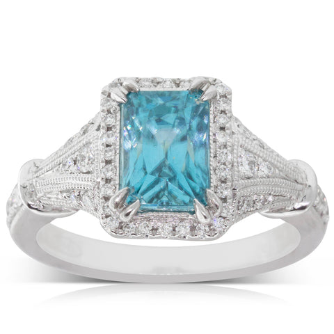 18ct White Gold 3.50ct Blue Zircon & Diamond Ring - Walker & Hall
