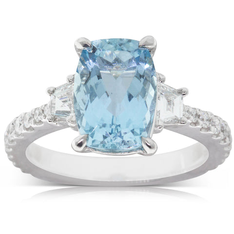 18ct White Gold 3.09ct Aquamarine & Diamond Ring - Walker & Hall