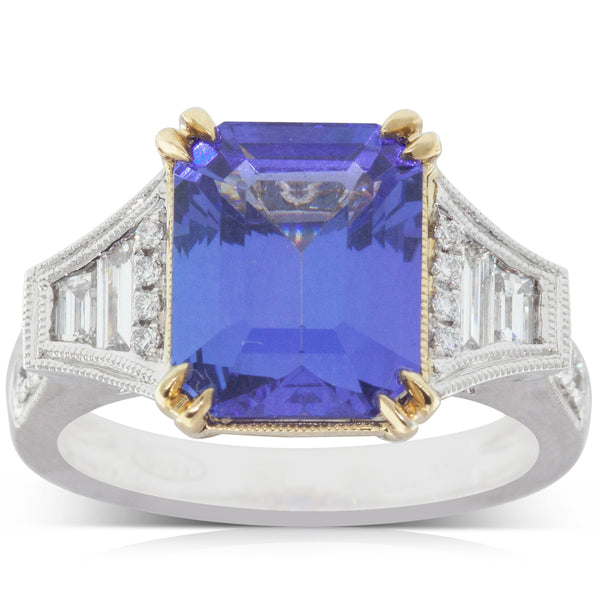 18ct White Gold 5.22ct Tanzanite & Diamond Ring - Walker & Hall