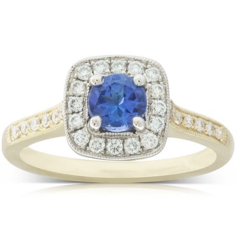 18ct Yellow & White Gold .56ct Tanzanite & Diamond Halo Ring - Walker & Hall