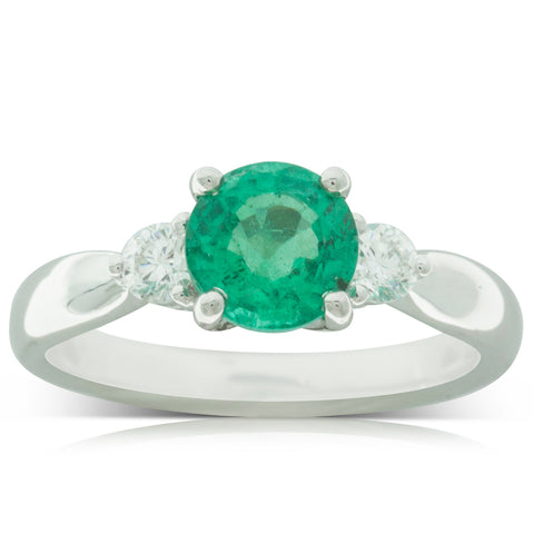 18ct White Gold 1.19ct Emerald & Diamond Ring - Walker & Hall