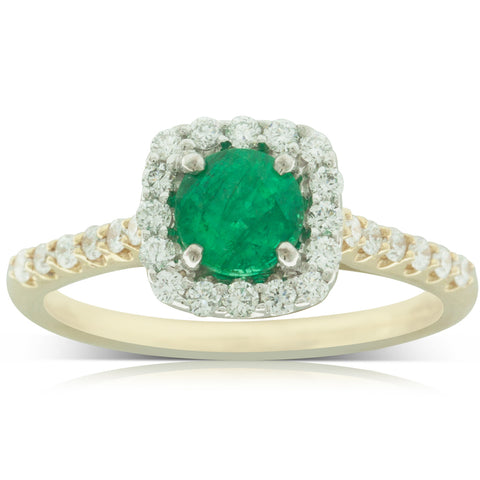 18ct White & Yellow Gold .60ct Emerald & Diamond Ring - Walker & Hall