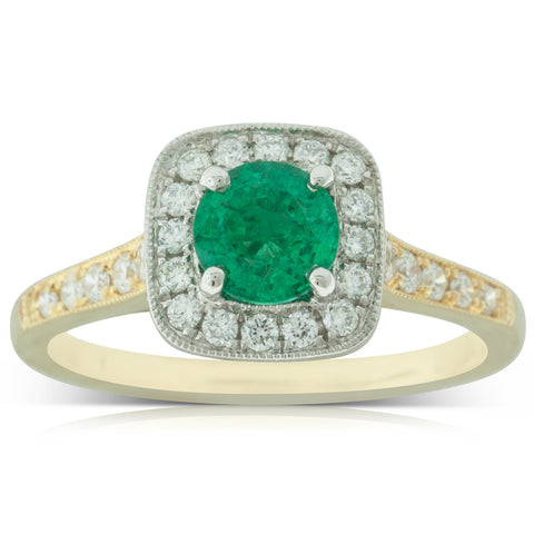18ct Yellow & White Gold .66ct Emerald & Diamond Ring - Walker & Hall