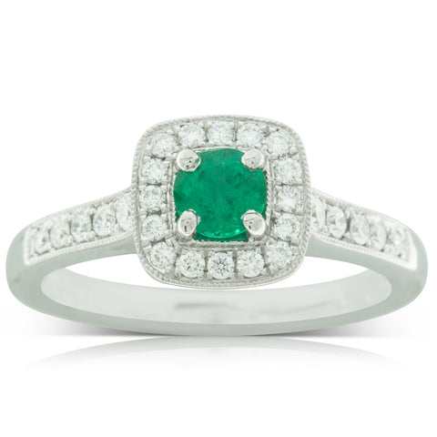 18ct White Gold .35ct Emerald & Diamond Ring - Walker & Hall