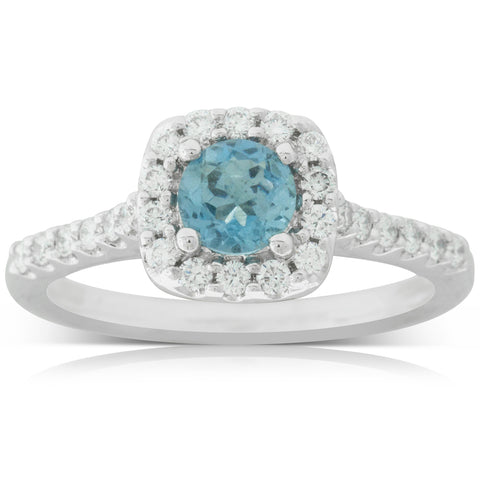 18ct White Gold .40ct Aquamarine & Diamond Manhattan Ring - Walker & Hall