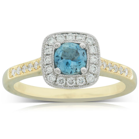 18ct White & Yellow Gold .34ct Aquamarine & Diamond Aurora Ring - Walker & Hall