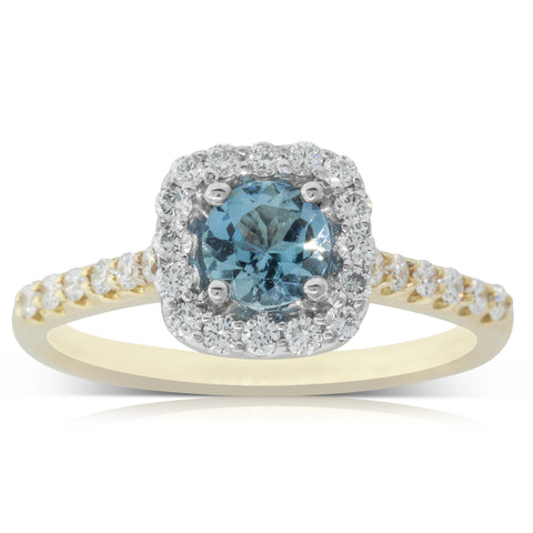 18ct White & Yellow Gold .44ct Aquamarine & Diamond Manhattan Ring - Walker & Hall