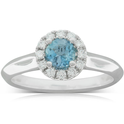 18ct White Gold .36ct Aquamarine & Diamond Eclipse Ring - Walker & Hall