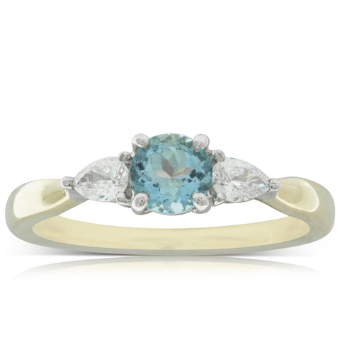 18ct White & Yellow Gold .43ct Aquamarine & Diamond Ring - Walker & Hall