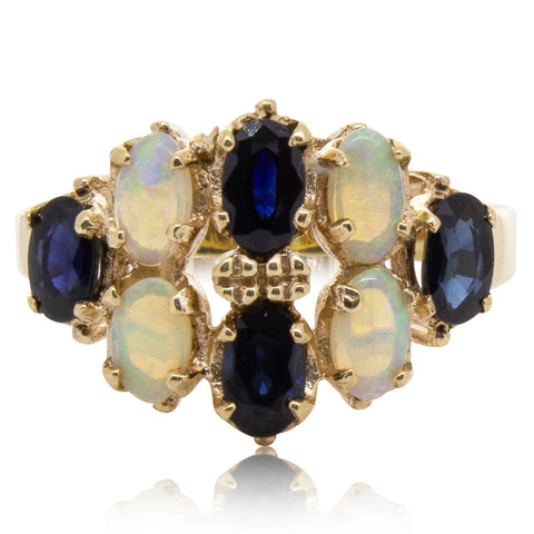 Deja Vu 9ct Yellow Gold Opal & Sapphire Ring - Walker & Hall
