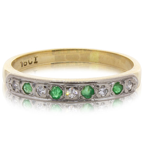 Deja Vu 918ct Yellow & White Gold Emerald & Diamond Ring - Walker & Hall