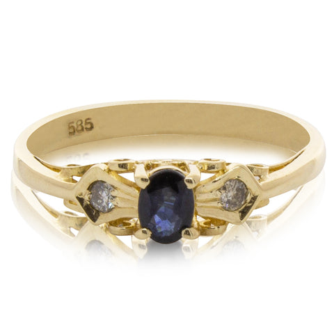 Deja Vu 14ct Yellow Gold Sapphire & Diamond Ring - Walker & Hall