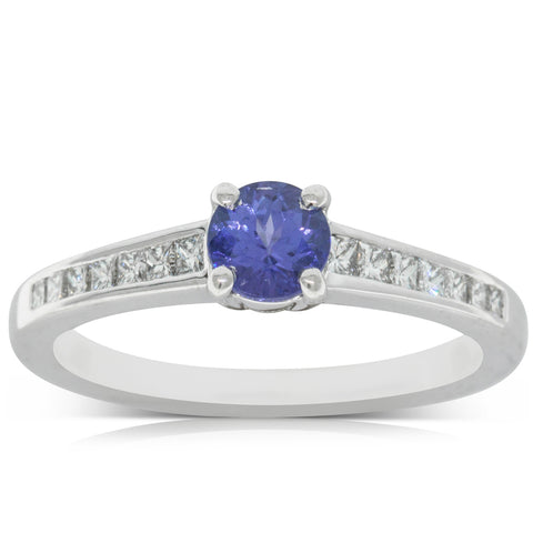 18ct White Gold .56ct Tanzanite & Diamond Ring - Walker & Hall