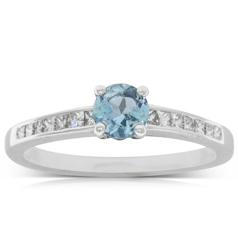 18ct White Gold .34ct Aquamarine & Diamond Ring - Walker & Hall