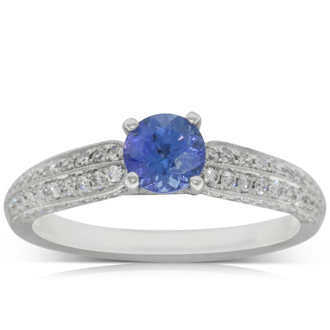18ct White Gold .66ct Tanzanite & Diamond Ring - Walker & Hall