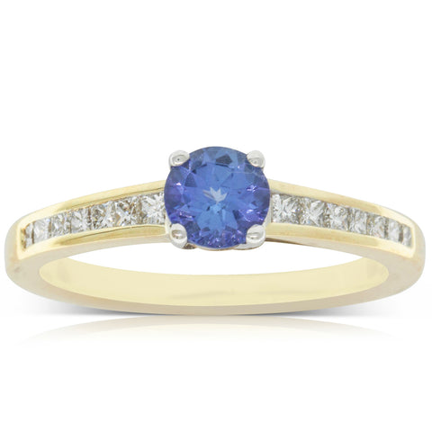 14ct Gelbgold Blau Achat & Diamantring Fine Rings Fine Jewelry